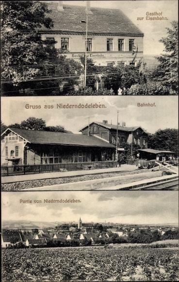 AK Niederndodeleben Hohe Boerde Bahnhof Gesamtansicht Gasthof zur Eisenbahn 1