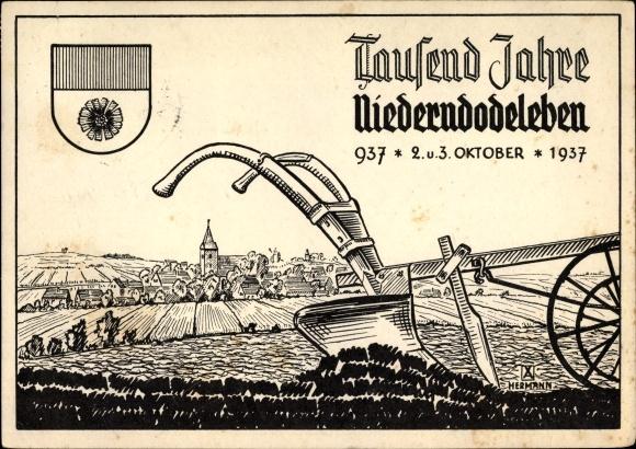 Postkarte Niederndodeleben Boerde in Sachsen Anhalt 1000jh Stadtfest 1937 Ackerpflug 1