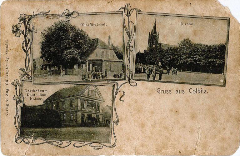 Postkarte Colbitz Kirche Gasthof Oberfoersterei 1 768x499